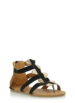 Girls Gladiator Sandals with Staggered Metal Accents - 1737061120268