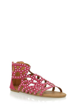 Girls Faux Suede Studded Gladiator Sandals - 1737061120270
