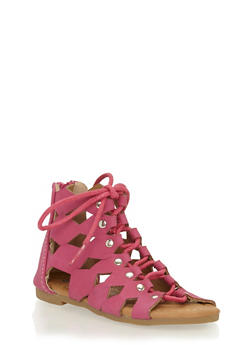 Girls 5-10 Studded Lace Up Gladiator Sandals - 1737061120272