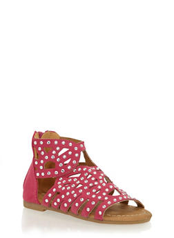 Girls 5-10 Studded Faux Suede Zip Back Sandals - 1737061120277
