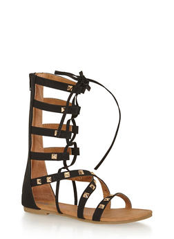 Girls 11-4 Tall Studded Lace Up Gladiator Sandals - 1737061120281