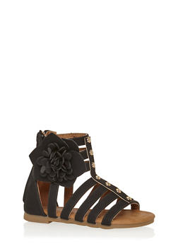 Girls 5-10 Studded Gladiator Sandals with Flower - 1737061120283