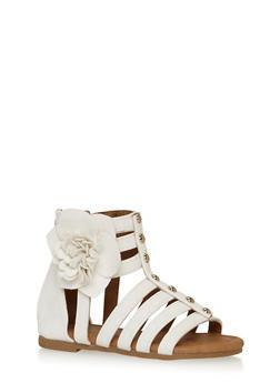 Girls 5-10 Studded Gladiator Sandals with Flower - 1737061120283