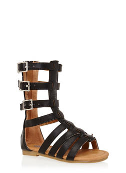 Girls 5-10 Tall Gladiator Sandals with 3 Buckles - 1737061120290