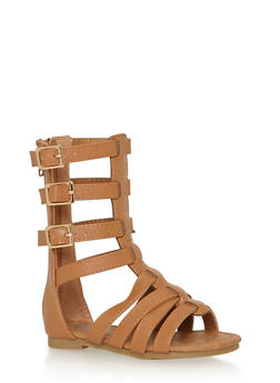 Girls Tall Gladiator Sandals with 3 Buckles - 1737061120290