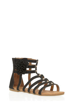 Girls Studded Gladiator Sandals with Flower Accent - 1737061120292