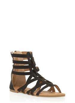Girls 11-4 Mid Zip Back Gladiator Sandals - 1737061120295