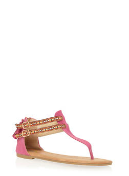 Girls 11-4 Zip Back Thong Sandals with Tribal Straps - 1737061120298