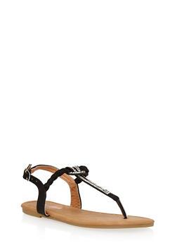 Girls 11-4 Rhinestone Braided Thong Sandals - 1737061120301
