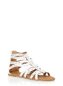 Girls 11-4 Lasercut Strappy Gladiator Sandals - 1737061120308