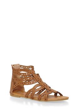 Girls 11-4 Lasercut Strappy Gladiator Sandals - 1737061120308