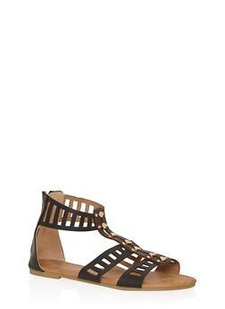 Girls 11-4 Studded Lasercut Gladiator Sandals - 1737061120314