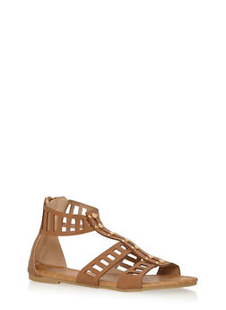 Girls 11-4 Studded Lasercut Gladiator Sandals - 1737061120314