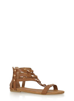 Girls 11-4 Studded Zip Back Gladiator Sandals - 1737061120317