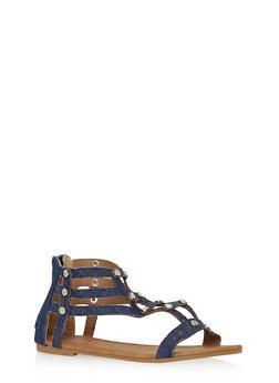 Girls 11-4 Studded Zip Back Gladiator Sandals - 1737061120317