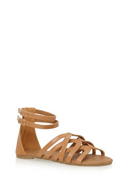 Girls Strappy Loop Gladiator Sandals with Zip Back - 1737061120320