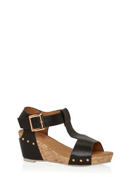 Girls Faux Leather T Strap Wedge Sandals - 1737061120327