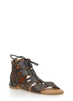 Girls 11-4 Laser Cut Lace Up Gladiator Sandals - 1737061120333