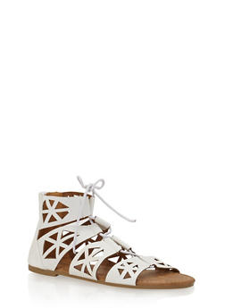 Girls 11-4 Laser Cut Lace Up Gladiator Sandals - 1737061120333
