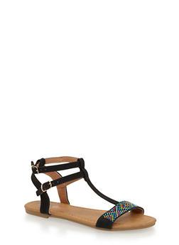 Girls 11-4 T Strap Studded Sandals - 1737061120336