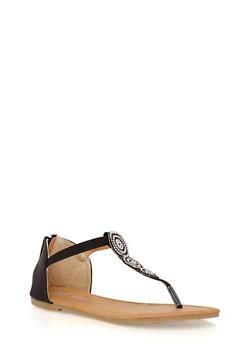 Girls 11-4 Rhinestone Studded Thong Sandals - 1737061120341