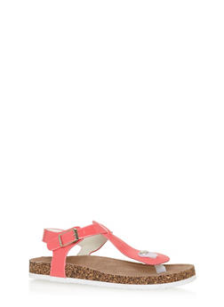 Girls Faux Patent Leather Thong Cork Sandals - 1737061120342