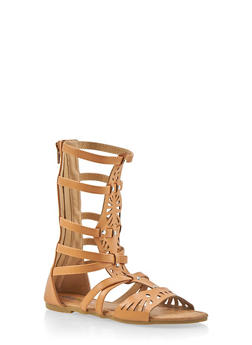 Girls 11-4 Tall Studded Lasercut Gladiator Sandals - 1737061120346