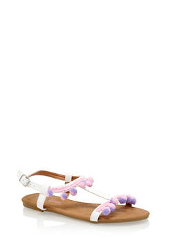 Girls Pom Pom Trim T Strap Sandals - 1737061120347