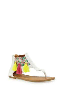 Girls 11-4 Faux Leather Thong Sandals with Tribal Tassel Trim - 1737061120348