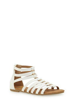 Girls 11-4 Faux Leather Gladiator Sandals with Metal Accents - 1737061120349