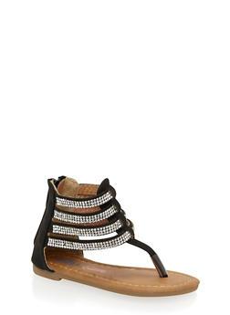 Girls 5-10 Rhinestone Studded Thong Sandals - 1737061120351