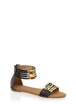 Girls 11-4 Gladiator Sandals with Back Zip - 1737061120357