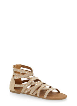 Girls 11-4 Studded Criss Cross Gladiator Sandals - 1737061120358