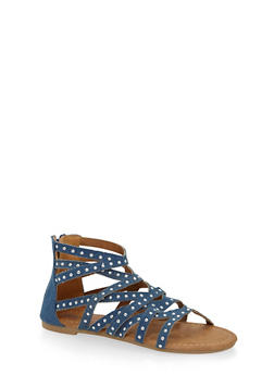 Girls 11-4 Studded Criss Cross Gladiator Sandals - 1737061120358
