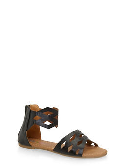 Girls Faux Leather Sandals with Caged Cut Out Straps - 1737061120360