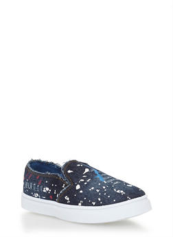 Girls 11-4 Paint Splattered Denim Slip On Sneakers - 1737061120361