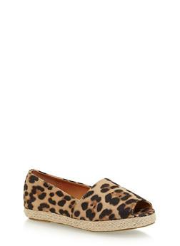 Girls 11-4 Leopard Print Peep Toe Espadrilles - 1737061120362