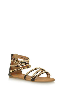 Girls 11-4 Multi Chain Strappy Faux Leather Sandals - 1737061120383