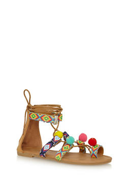 Girls Tribal Lace Up Sandals with Pom Pom Trim - 1737061120384