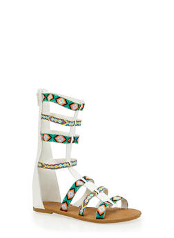 Girls Tall Tribal Gladiator Sandals - WHITE - 1737061120404