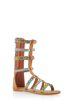 Girls Tall Tribal Gladiator Sandals - 1737061120404