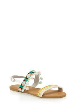 Girls 11-4 Embroidered Pom Pom Fringe Sandals - 1737061120405