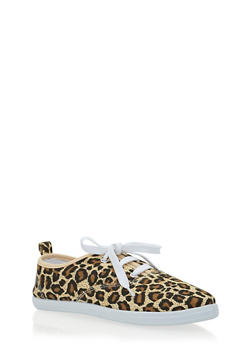 Girls Leopard Print Lace Up Tennis Sneakers - 1737062720019