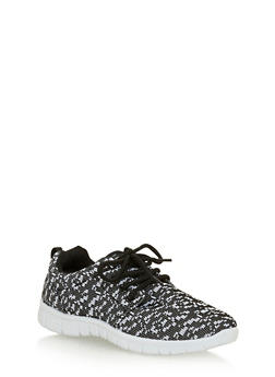 Girls Marled Digital Print Sneakers - 1737062720021