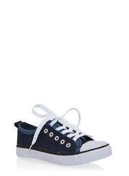 Girls 12-4 Double Flap Denim Canvas Sneakers - 1737062720022