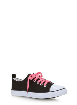 Girls 12-4 Canvas Tennis Sneakers with Contrast Laces - 1737062720023