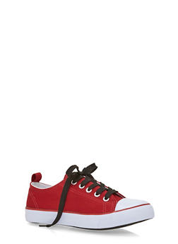 Girls 12-4 Canvas Tennis Sneakers with Contrast Laces - 1737062720024