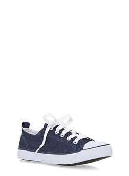 Girls 12-4 Low Top Canvas Denim Sneakers - 1737062720027