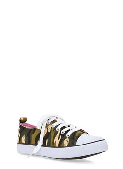 Girls 12-4 Low Top Canvas Camo Sneakers - 1737062720028