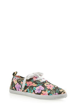Girls 12-4 Tropical Print Tennis Sneakers - 1737062720033